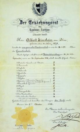 Einstein's matriculation certificate at the age of 17, showing his final grades from the Argovian cantonal school (Aargauische Kantonsschule, on a scale of 1–6, with 6 being the highest possible mark)