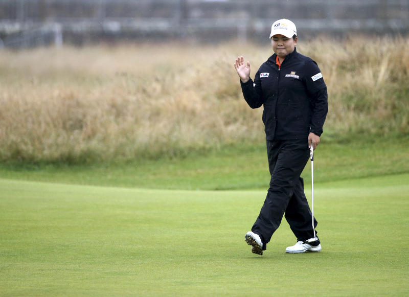 South Korea's Inbee Park gestures on the first green during the first round of the Women's British Open golf championship on the Old Course at St Andrews, Scotland, Thursday Aug. 1, 2013. The 25-year-old from South Korea already has won three majors this year. She is trying to become the first golfer, male or female, to win four in one season. (AP Photo/Scott Heppell)