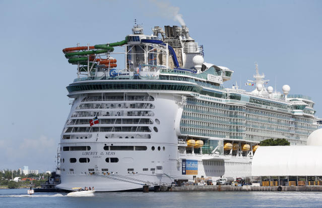 The Royal Caribbean International cruise ship Liberty of the Seas is shown docked, Tuesday, Aug. 29, 2017, at PortMiami in Miami.