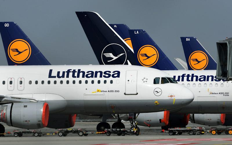 Lufthansa planes at Munich airport
