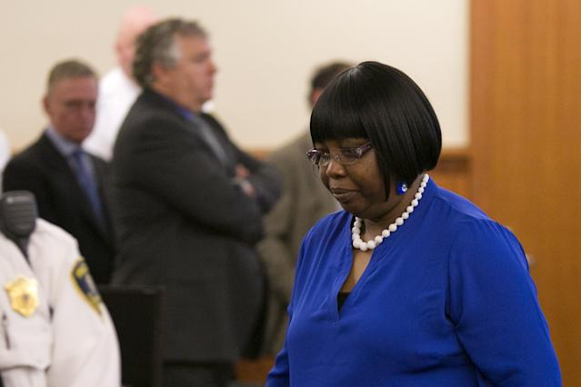 Ursula Ward, mother of the victim, walks back to her seat after former NFL player Aaron Hernandez was convicted in his murder trial at the Bristol County Superior Court in Fall River, Massachusetts, April 15, 2015. Hernandez, 25, a former tight end for the New England Patriots, is convicted of fatally shooting semiprofessional football player Odin Lloyd in an industrial park near Hernandez's Massachusetts home in June 2013. REUTERS/Dominick Reuter