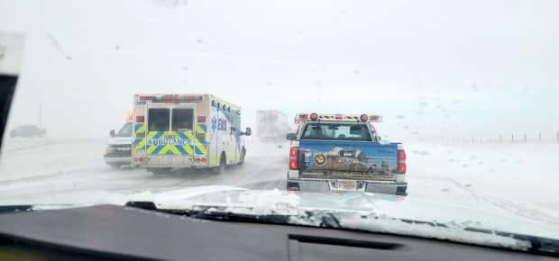 Traffic was backed up along the Trans-Canada Highway west of Brooks, about 190 kilometres southeast of Calgary.  (Submitted by Jordan Sargeant - image credit)