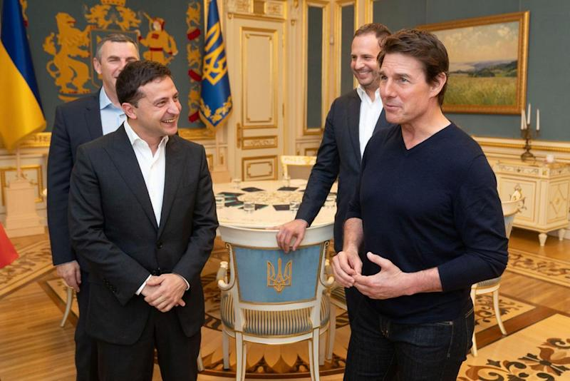 Ukraine's President Volodymyr Zelenskiy meets with actor and producer Tom Cruise in Kiev, Ukraine September 30, 2019. Picture taken September 30, 2019. Ukrainian Presidential Press Service/Handout via REUTERS ATTENTION EDITORS - THIS IMAGE WAS PROVIDED BY A THIRD PARTY. MANDATORY CREDIT.