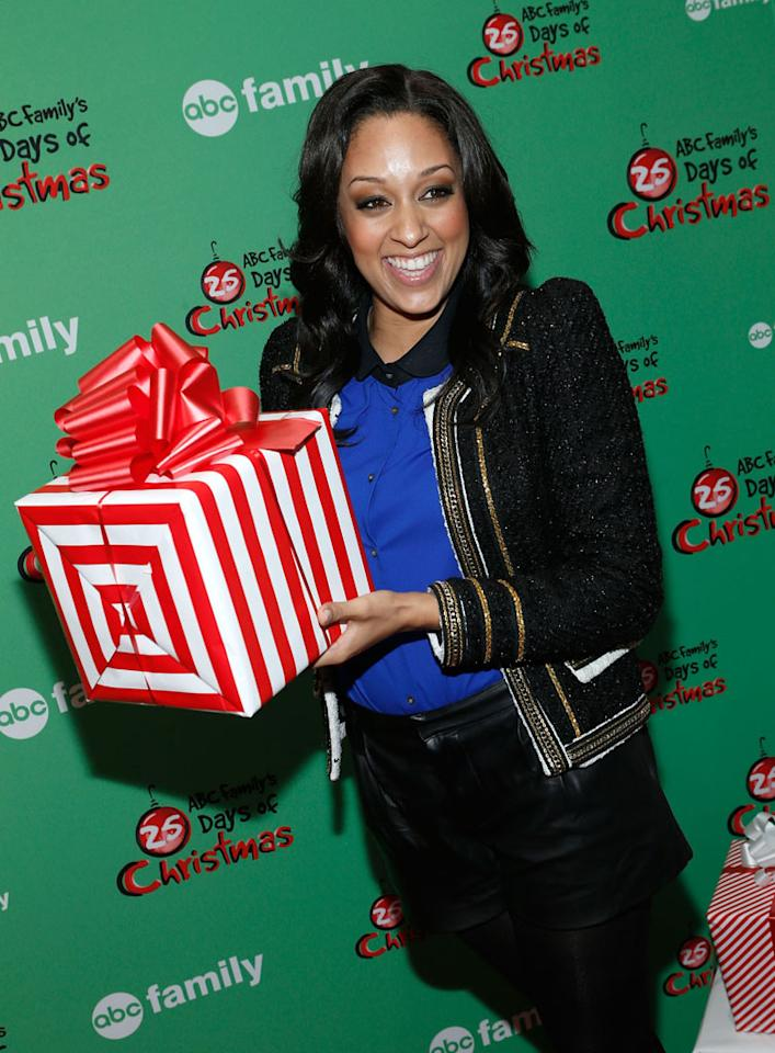"Tia Mowry attends ABC Family's ""25 Days Of Christmas"" Winter Wonderland Event at Rockefeller Center on December 2, 2012 in New York City."