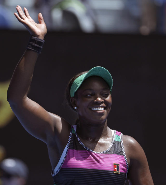 United States' Sloane Stephens celebrates after defeating Hungary's Timea Babos in their second round match at the Australian Open tennis championships in Melbourne, Australia, Wednesday, Jan. 16, 2019. (AP Photo/Mark Schiefelbein)