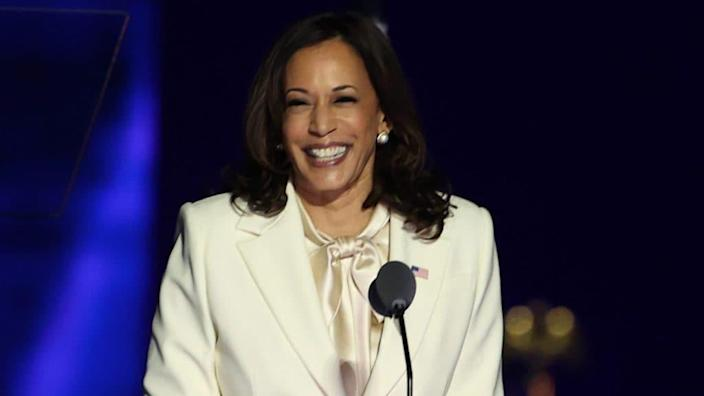 Vice President-elect Kamala Harris takes the stage before President-elect Biden addresses the nation from the Chase Center November 07, 2020 in Wilmington, Delaware. (Photo by Tasos Katopodis/Getty Images)