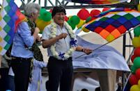 Ex-president Evo Morales addresses his homecoming rally in Chimore, Bolivia, with his former vice-president Alvaro Garcia Linera on November 11, 2020