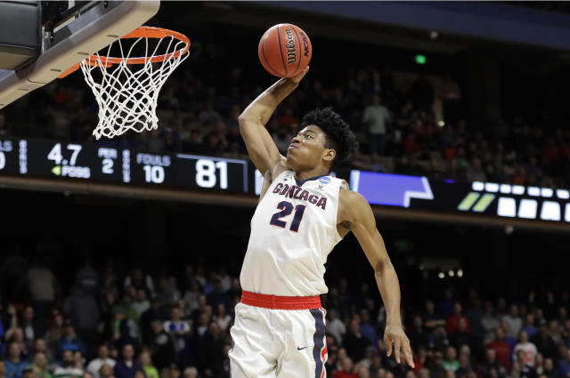Gonzaga forward Rui Hachimura dunks against Ohio State during the second half of a second-round game in the NCAA men's college basketball tournament Saturday, March 17, 2018, in Boise, Idaho. (AP Photo/Otto Kitsinger)