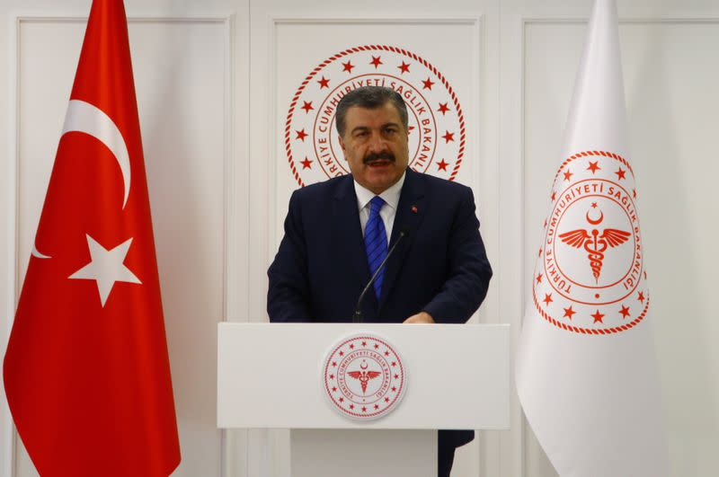 Turkish Health Minister Koca speaks during a news conference in Ankara