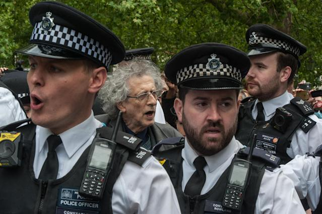 Piers Corbyn (brother of former Labour leader Jeremy Corbyn) is arrested as conspiracy theorists gather at Hyde Park Corner (Picture: Getty)