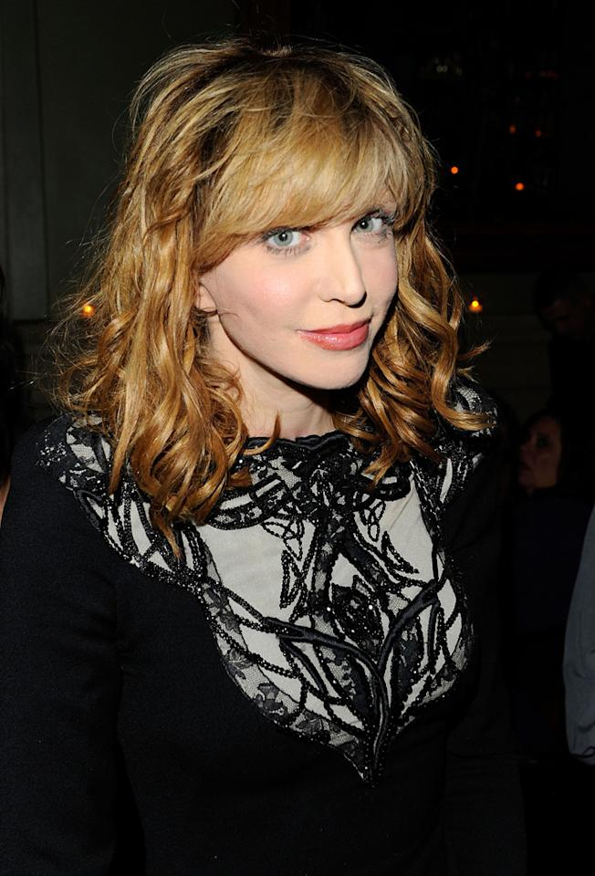 """<a href=""""http://movies.yahoo.com/movie/contributor/1800018570"""">Courtney Love</a> at the New York Cinema Society screening of <a href=""""http://movies.yahoo.com/movie/1810071450/info"""">Conviction</a> on October 12, 2010."""