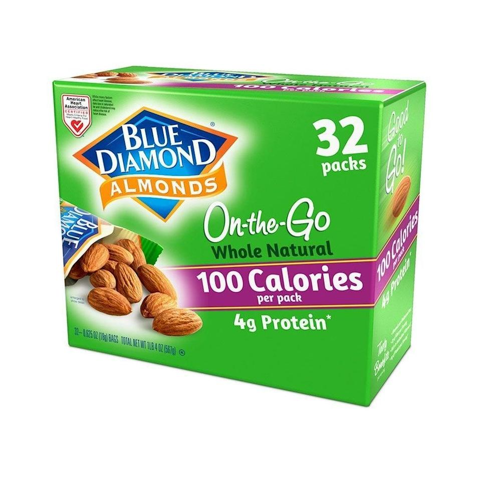 "<p>These <a href=""https://www.popsugar.com/buy/Blue-Diamond-Whole-Natural-Raw-Almonds-551010?p_name=Blue%20Diamond%20Whole%20Natural%20Raw%20Almonds&retailer=amazon.com&pid=551010&price=16&evar1=fit%3Aus&evar9=45727565&evar98=https%3A%2F%2Fwww.popsugar.com%2Ffitness%2Fphoto-gallery%2F45727565%2Fimage%2F47249040%2FFor-Almond-Lovers&list1=shopping%2Camazon%2Chealthy%20snacks%2Csnacks&prop13=api&pdata=1"" class=""link rapid-noclick-resp"" rel=""nofollow noopener"" target=""_blank"" data-ylk=""slk:Blue Diamond Whole Natural Raw Almonds"">Blue Diamond Whole Natural Raw Almonds</a> ($16 for 32 bags) are a crunchy treat we can feel good about, and they're so easy to take on the go.</p>"