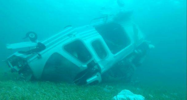 PHOTO: Bahamian authorities mapped the debris field and conducted underwater surveying at the scene of a helicopter crash off Grand Cay, in the Bahamas, on July 5, 2019. (Bahamas Police Marine Unit and Support Team)