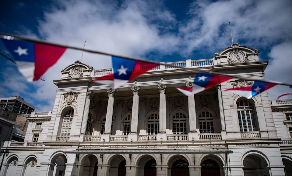 View of the Municipal Theatre of Santiago in Santiago, on September 13, 2021. - After a year and a half of having closed its doors, the Municipal Theatre of Santiago will resume its functions on September 15 after a decline of covid-19 cases in Chile. (Photo by MARTIN BERNETTI / AFP) (Photo by MARTIN BERNETTI/AFP via Getty Images)