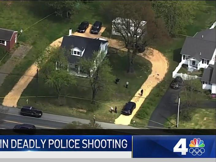 <p>Aerial footage showing the scene of a fatal shooting in Leonardtown, Maryland, on Tuesday</p> (NBC News Washington)