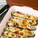 """<p><a href=""""https://www.delish.com/uk/cooking/recipes/a34490946/bacon-wrapped-jalapenos-recipe/"""" rel=""""nofollow noopener"""" target=""""_blank"""" data-ylk=""""slk:Jalapeño Poppers"""" class=""""link rapid-noclick-resp"""">Jalapeño Poppers</a> are our favourite appetisers, so naturally, we turned them into an actual dinner. We skipped the frying and put them into courgette boats for an easy, low-carb take on the favourite we can't get enough of. </p><p>Get the <a href=""""https://www.delish.com/uk/cooking/recipes/a34927163/jalapeno-popper-zucchini-boats-recipe/"""" rel=""""nofollow noopener"""" target=""""_blank"""" data-ylk=""""slk:Jalapeño Popper Courgette Boats"""" class=""""link rapid-noclick-resp"""">Jalapeño Popper Courgette Boats</a> recipe.</p>"""