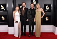 <p>Brittney Marie Cole, Brian Kelley and Tyler Hubbard of Florida Georgia Line, and Hayley Stommel attend the 61st annual Grammy Awards at Staples Center on Feb. 10, 2019, in Los Angeles. </p>