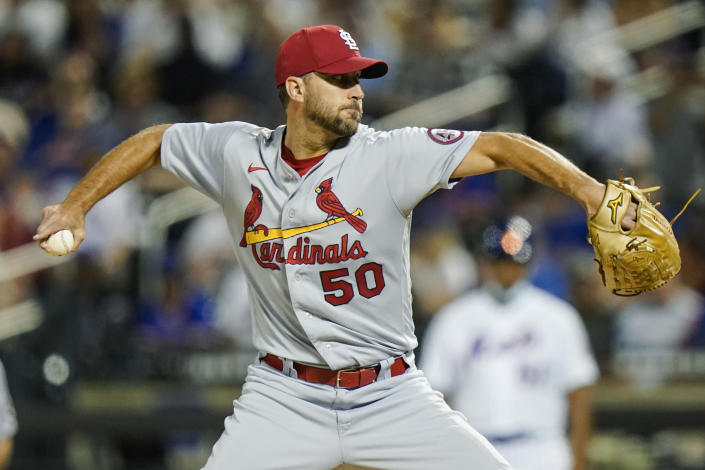 St. Louis Cardinals' Adam Wainwright delivers a pitch during the first inning of a baseball game against the New York Mets, Monday, Sept. 13, 2021, in New York. (AP Photo/Frank Franklin II)