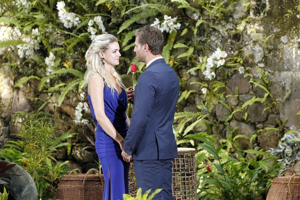 Nikki accepts a rose from Juan Pablo on the season finale of The Bachelor.