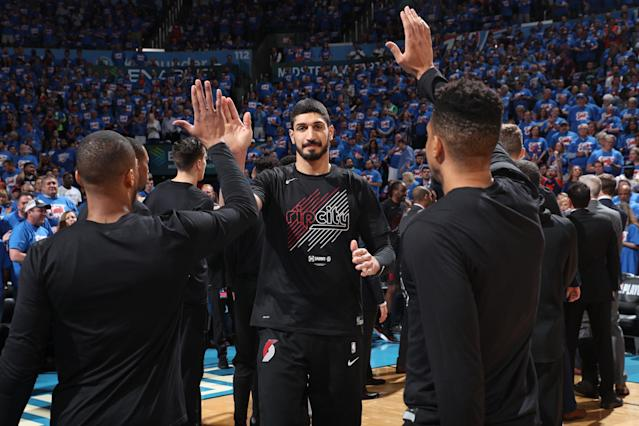 Enes Kanter is on to the second round of the NBA playoffs, but not without giving some appreciation first. (Photo by Joe Murphy/NBAE via Getty Images)