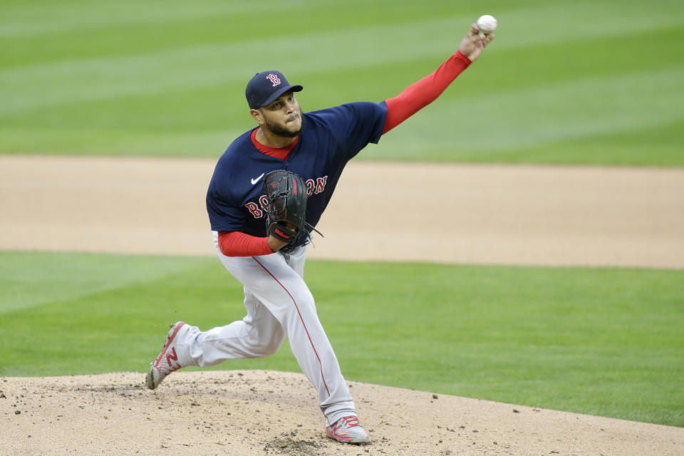 Boston Red Sox starting pitcher Eduardo Rodriguez throws to the Minnesota Twins in the first inning in the second baseball game of a doubleheader, Wednesday, April 14, 2021, in Minneapolis. (AP Photo/Andy Clayton-King)