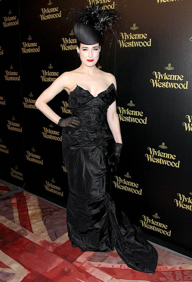 """Burlesque dancer/model Dita Von Teese played up her usual dramatic look, thanks to a sky-high hat. Todd Williamson/<a href=""""http://www.wireimage.com"""" target=""""new"""">WireImage.com</a> - March 30, 2011"""