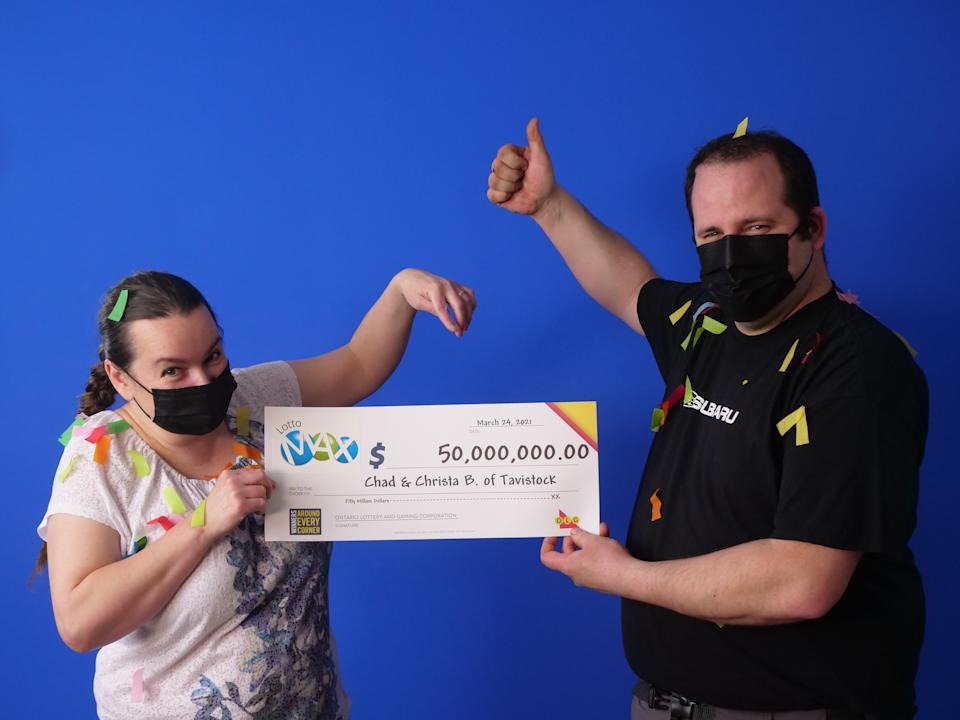 Chad and Christa Breyer $50 million Lotto Max win (OLG)