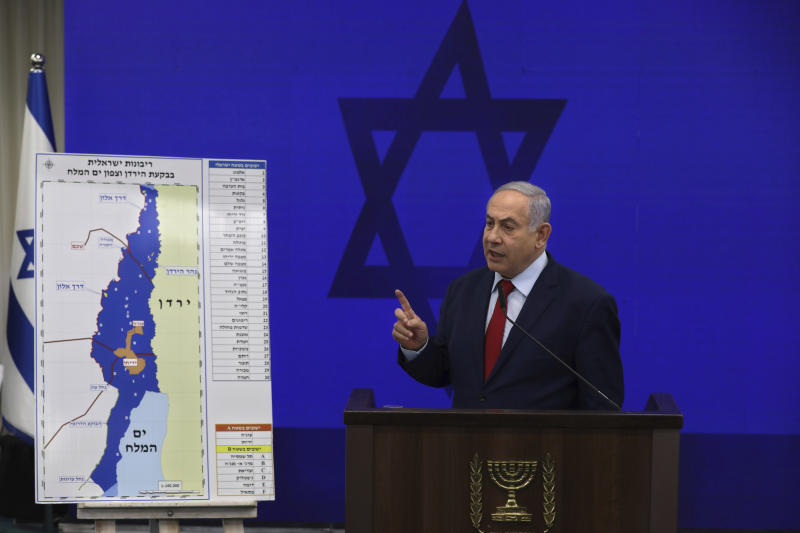 Israeli Prime Minister Benjamin Netanyahu, speaks during a press conference in Tel Aviv, Israel, Tuesday, Sept. 10, 2019. Netanyahu vowed Tuesday to begin annexing West Bank settlements if he wins national elections next week. (AP Photo/Oded Balilty)