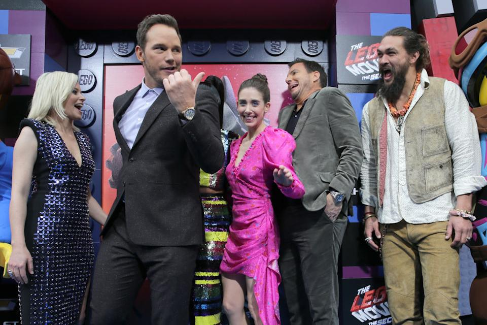 """From left, Elizabeth Banks, Chris Pratt, Alison Brie, Will Arnett and Jason Momoa attend the premiere of """"The Lego Movie 2: The Second Part"""" at Regency Village Theatre on Feb. 2 in Los Angeles. (Photo: Sarah Morris/Getty Images)"""