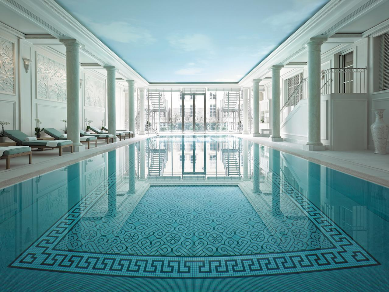 Paris's <strong>Shangri-La Hotel</strong> includes an indoor pool that's the very definition of serenity. Designed by architect Richard Martinet and interior designer Pierre-Yves Rochon, is located in what were the stables of Prince Roland Bonaparte's hôtel particulier.
