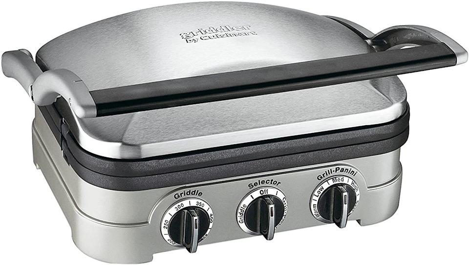"""You'll be able to make mouthwatering burgers all year long whether it's 20 or 90 degrees outside when you own this genius tool. And using this lil' grill is so simple! Throw your meat on, close the top, and BOOM — dinner is served.<br /><br /><strong>Promising review:</strong>""""Besides a good chef, this machine has been the most used and most beloved instrument in my kitchen! From grilling to toasting and everything in between.<strong>The addition of reversible griddle irons and the flat laying top handle has been a major boost to the utility of this product.</strong>Additionally, having the grease catcher as an internal bucket (and a much larger one at that) makes clean up much easier. I use this product literally every week and have no complaints. Great for cooking quickly and healthily. Buy this now! It will change your life!"""" —<a href=""""https://www.amazon.com/dp/B002YD99Y4?tag=huffpost-bfsyndication-20&ascsubtag=5890048%2C28%2C36%2Cd%2C0%2C0%2C0%2C962%3A1%3B901%3A2%3B900%3A2%3B974%3A3%3B975%3A2%3B982%3A2%2C16492512%2C0"""" target=""""_blank"""" rel=""""noopener noreferrer"""">AddieO<br /></a><br /><strong>Get it from Amazon for<a href=""""https://www.amazon.com/dp/B002YD99Y4?tag=huffpost-bfsyndication-20&ascsubtag=5890048%2C28%2C36%2Cd%2C0%2C0%2C0%2C962%3A1%3B901%3A2%3B900%3A2%3B974%3A3%3B975%3A2%3B982%3A2%2C16492512%2C0"""" target=""""_blank"""" rel=""""noopener noreferrer"""">$77.57</a>.</strong>"""