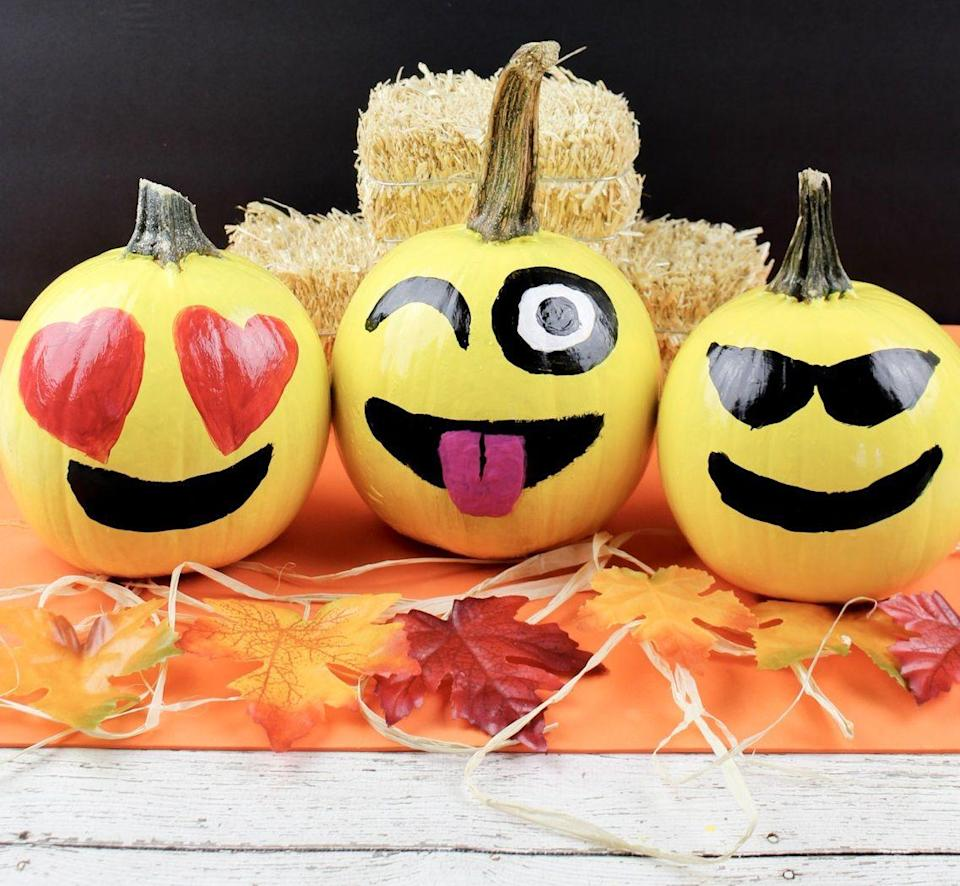 """<p>How precious are these pint-sized pumpkins? Kids will especially enjoy showing off their painting skills with this kid-friendly idea.</p><p><strong>Get the tutorial at <a href=""""https://myincrediblerecipes.com/diy-emoji-pumpkins/"""" rel=""""nofollow noopener"""" target=""""_blank"""" data-ylk=""""slk:My Incredible Recipes"""" class=""""link rapid-noclick-resp"""">My Incredible Recipes</a>. </strong></p><p><strong><a class=""""link rapid-noclick-resp"""" href=""""https://www.amazon.com/LorDac-Arts-Painting-Watercolor-Professional/dp/B06XC8Q3BZ/?tag=syn-yahoo-20&ascsubtag=%5Bartid%7C10050.g.22133548%5Bsrc%7Cyahoo-us"""" rel=""""nofollow noopener"""" target=""""_blank"""" data-ylk=""""slk:SHOP PAINT BRUSHES"""">SHOP PAINT BRUSHES</a><br></strong></p>"""