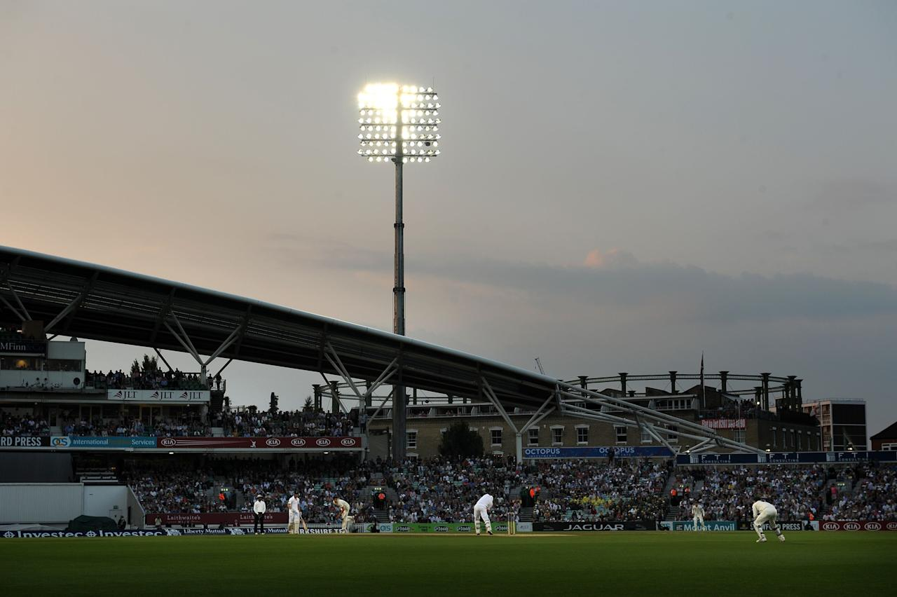 The light begins to fade during day five of the Fifth Investec Ashes Test match at The Kia Oval, London.