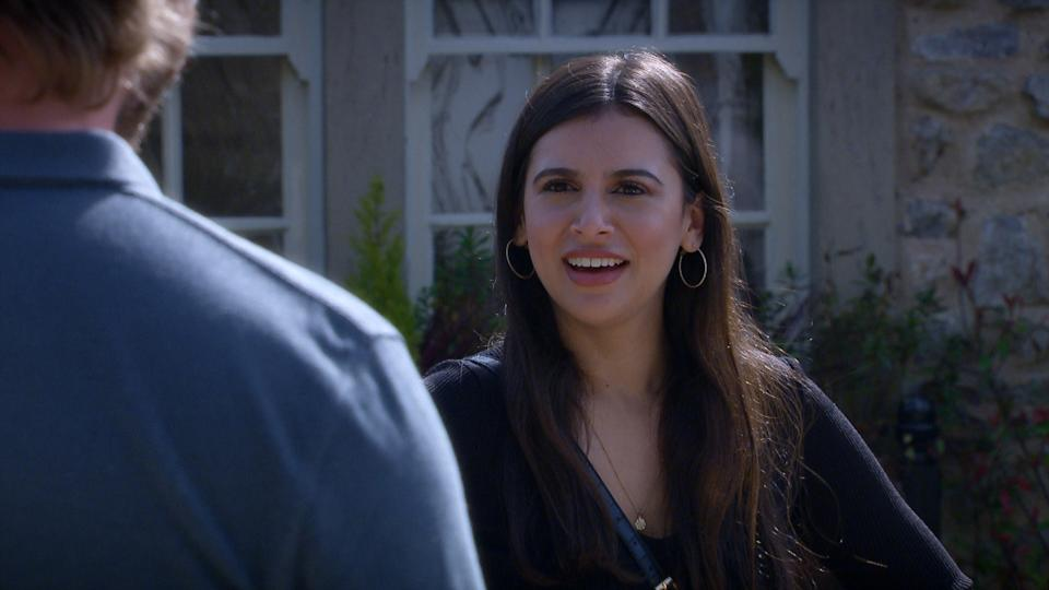 FROM ITV  STRICT EMBARGO  Print media - No Use Before Tuesday 8th June 2021 Online Media - No Use Before 0700hrs  Tuesday 8th June 2021  Emmerdale - Ep 907273  Monday 14th June 2021  Meena [PAIGE SANDHU] covers her tracks with David Metcalfe [MATTHEW WOLFENEDEN].   Picture contact David.crook@itv.com   This photograph is (C) ITV Plc and can only be reproduced for editorial purposes directly in connection with the programme or event mentioned above, or ITV plc. Once made available by ITV plc Picture Desk, this photograph can be reproduced once only up until the transmission [TX] date and no reproduction fee will be charged. Any subsequent usage may incur a fee. This photograph must not be manipulated [excluding basic cropping] in a manner which alters the visual appearance of the person photographed deemed detrimental or inappropriate by ITV plc Picture Desk. This photograph must not be syndicated to any other company, publication or website, or permanently archived, without the express written permission of ITV Picture Desk. Full Terms and conditions are available on  www.itv.com/presscentre/itvpictures/terms