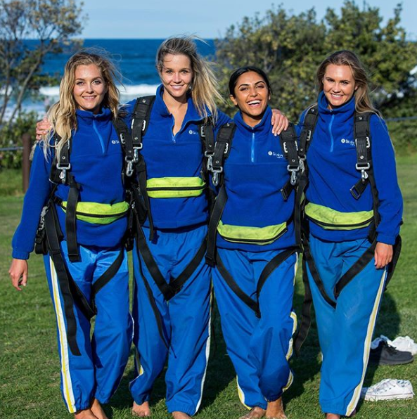 A photo of Nichole Wood, Helena Sauzier and Sogand Mohtat and Chelsie McLeod on The Bachelor Australia.