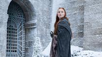 <p>During most of her stay in the Eyrie, Sansa wears a cloak over her dress. This is significant because the Eyrie is the place where Sansa learns to put all the powers of deception and manipulation she learned in King's Landing to use. </p>