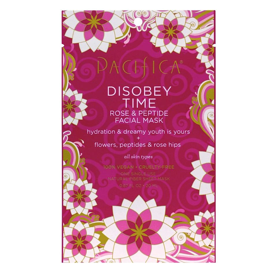 <p>Containing rose hip seed oil, peptides, hyaluronic acid, green tea, and pomegranate, the <span>Pacifica Disobey Time Rose and Peptide Face Mask</span> ($4) will nourish your skin for youthful skin. It's a great option for those with dry skin.</p>