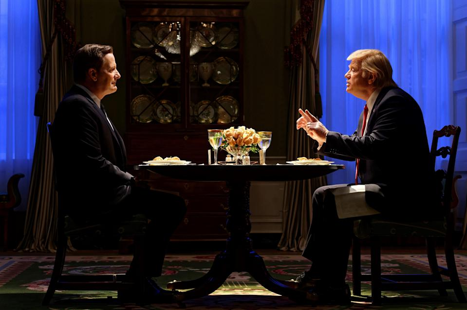 FBI Director James Comey (Jeff Daniels), left, and President Donald Trump (Brendan Gleeson) meet for the famous 'loyalty dinner' in 'The Comey Rule,' a Showtime miniseries.