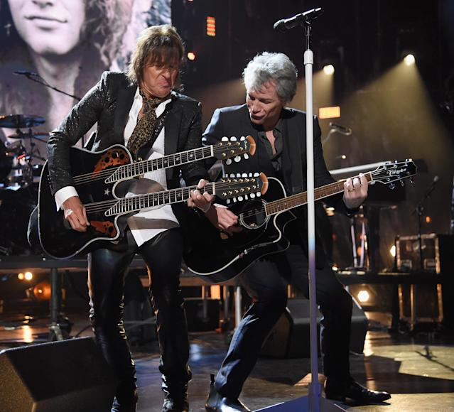 Richie Sambora and Jon Bon Jovi perform together at the 33rd Annual Rock and Roll Hall of Fame induction ceremony on April 14, 2018. (Photo: Jeff Kravitz/FilmMagic)
