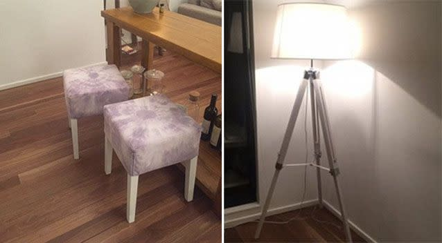 'The x2 stools we tie died together' are up for sale. Photo: Facebook