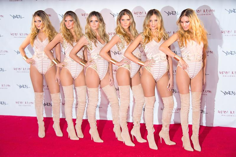 Model Heidi Klum (3rd from Left) attends Heidi Klum's 17th Annual Halloween party at Vandal as herself (with a few clones) on October 31, 2016 in New York City. Photo courtesy of Getty Images.