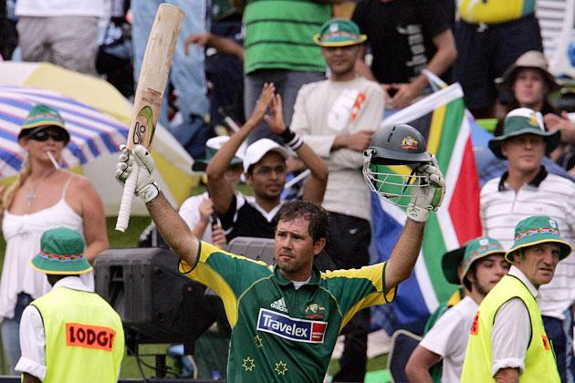 Johannesburg, SOUTH AFRICA:  Australian batsman and captain Ricky Ponting celebrates his 164 runs and highest test score, during the 5th One-Day International cricket match against South Africa 12 March 2006 in Johannesburg.    AFP PHOTO ALEXANDER JOE  (Photo credit should read ALEXANDER JOE/AFP/Getty Images)