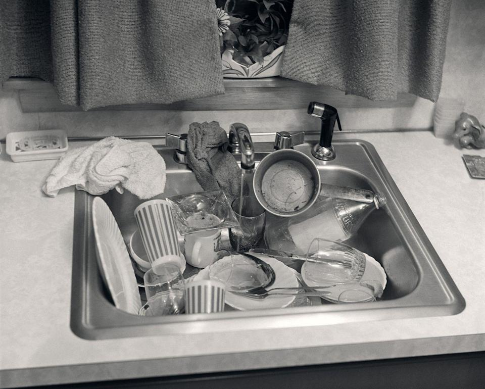 """<p>Meaning bad in appearance, """"grody"""" usually described people and places, but perhaps this gross pile of dishes could count as well. Though it's not mentioned in the OED, we also informally consider this the era of """"groovy.""""</p>"""