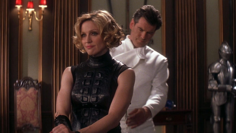Madonna and Pierce Brosnan in 2002 James Bond movie 'Die Another Day'. (Credit: MGM/20th Century Studios)