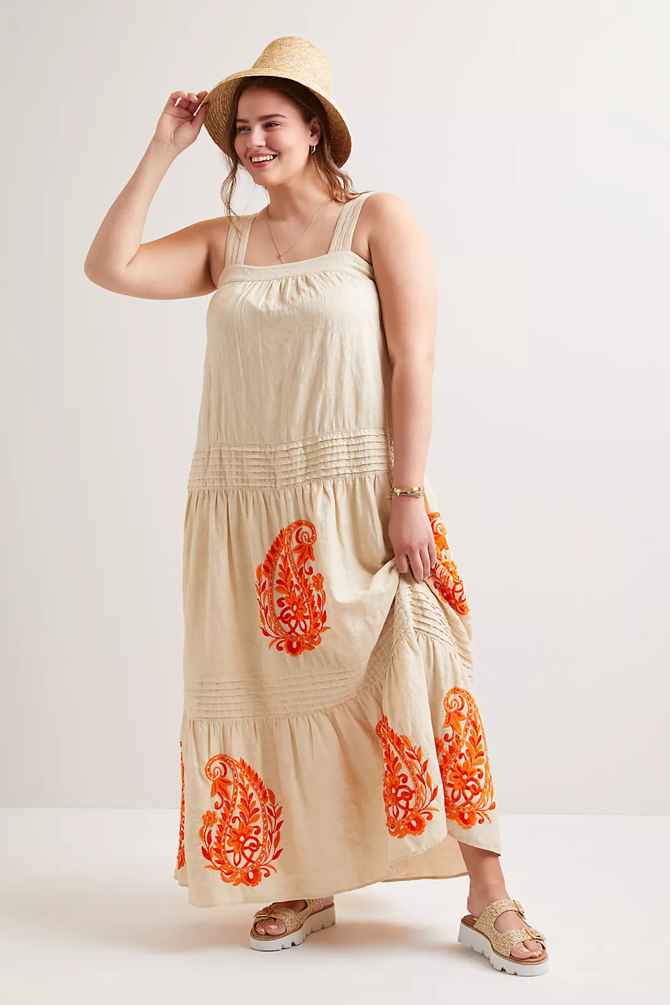 """<h2>Felicity Embroidered Maxi Dress</h2><br><strong>Sizes Available: 1X-3X</strong><br><br><em>Shop <strong><a href=""""https://www.anthropologie.com/shop/felicity-embroidered-maxi-dress"""" rel=""""nofollow noopener"""" target=""""_blank"""" data-ylk=""""slk:Anthropologie"""" class=""""link rapid-noclick-resp"""">Anthropologie</a></strong></em><br><br><strong>Anthropologie</strong> Felicity Embroidered Maxi Dress, $, available at <a href=""""https://go.skimresources.com/?id=30283X879131&url=https%3A%2F%2Fwww.anthropologie.com%2Fshop%2Ffelicity-embroidered-maxi-dress"""" rel=""""nofollow noopener"""" target=""""_blank"""" data-ylk=""""slk:Anthropologie"""" class=""""link rapid-noclick-resp"""">Anthropologie</a>"""