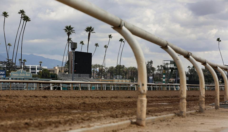 The home stretch race track is empty at Santa Anita Park in Arcadia, Calif., Thursday, March 7, 2019. Extensive testing of the dirt track is under way at eerily quiet Santa Anita, where the deaths of 21 thoroughbreds in two months has forced the indefinite cancellation of horse racing and thrown the workaday world of trainers, jockeys and horses into disarray. (AP Photo/Damian Dovarganes)