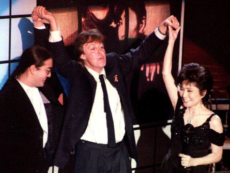 <p>Sir Paul McCartney with Sean Lennon and Yoko Ono at the Rock and Roll Hall of Fame induction in New York, January 1994</p> (AFP via Getty Images)
