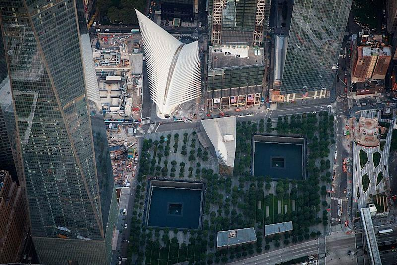 An aerial view of the 9/11 Memorial & Museum and the Oculus Transportation Hub on September 8, 2016, in New York City. | Drew Angerer/staff—Getty Images