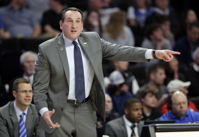 Duke coach Mike Krzyzewski directs his team against Wake Forest during the first half of an NCAA college basketball game in Winston-Salem, N.C., Tuesday, Jan. 8, 2019. (AP Photo/Chuck Burton)