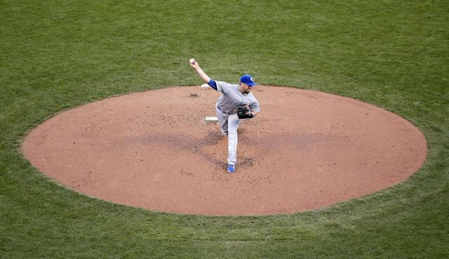 Kansas City Royals' James Shields delivers a pitch during the first inning of Game 5 of baseball's World Series against the San Francisco Giants on Sunday, Oct. 26, 2014, in San Francisco. (AP Photo/Marcio Jose Sanchez)